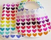 Baby Bib and Burp Cloth Set - Multicolor Hearts