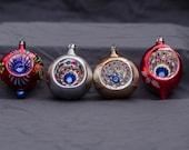 Vintage Polish Mercury Glass Christmas Ornaments Poland Set of 3 Antique Decorations Handpainted Indent Colorful Excellent Condition