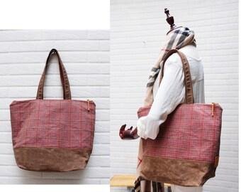 Zipped tote, Woolen tote,office bag,school bag,,travel bag ,weekender,shopping tote