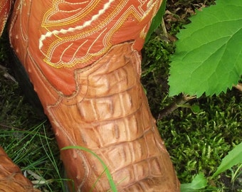 Dan Post Cow Hide Leather Alligator Monarca Tony Lama Cowboy-Girl Boots Country Western Rodeo Steampunk Footwear Rustic Cottage Chic Ranch