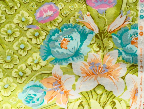BTY Lilies lime green Kaffe Fassett GP 45 Rowan Fabrics One Yard or more