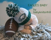 Philadelphia Eagles Baby Beanie, Newborn Eagles Baby Hat, Eagles Perfect Fit Baby Beanie, Sports Baby Hat, Handmade Knit Baby Hat, Prop