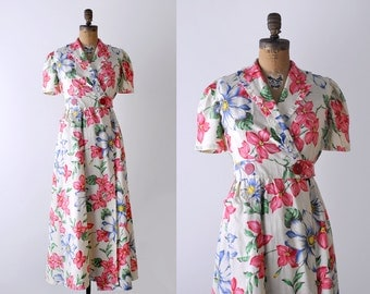 30's maxi dress. small. 1930 vintage dress. floral print. pink. 1930's wrap dress. robe.