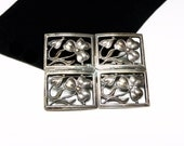Window Pane Brooch with Pansies - Art Nouveau Early 1940's Pin - Silvertone Vintage