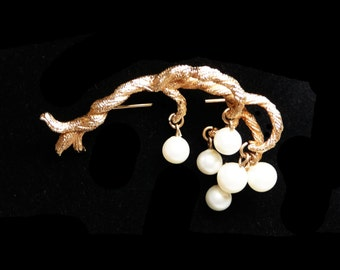 Goldtone Branch Brooch with Dangling Pearlescent Beads -  White Simulated Pearls Pin - Vintage Jewelry