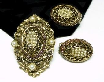 HAR Victorian Revival Brooch & Earring Set - Designer Signed Demi Parure - Amethyst Rhinestones and White Seed Bead Pearls