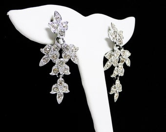 """Dangling Sarah Coventry Flower Earrings - Clip on Rhinestone Fuchsia Flowers - 1964 """"Queen for the Day"""" Vintage Signed Sarah Cov"""