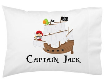 Pirate Personalized Pillowcase, Kids Custom Pirate Ship Personalized Pillowcase, Kids Pillowcase, Personalized Kid Pillowcase Birthday Gift