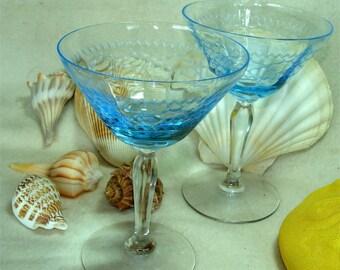 Elegant VINTAGE Ice BLUE Stems Stemware Jeweler ETCHED