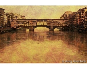 Fine Art Sepia Photography of the Ponte Vecchio in Florence Italy