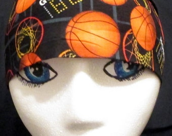 Black Fabric w Basketballs and Hoops, Chemo Cap or Skull Cap, Hair Loss,Bald, Do Rag, Helmet Liner, Motorcycle, Bandana, Head Wrap, Handmade