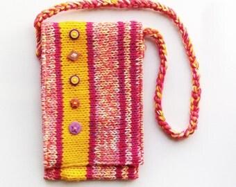 Apricot Button Bag - Knitted Handbag / Handmade Bag Satchel / Knitted Shoulder Bag Tote