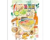 Kitchen art, Vietnamese Pho recipe print, Kitchen print, Watercolor food painting, Asian art, 8X10, Colorful kitchen decor, Kitchen wall art