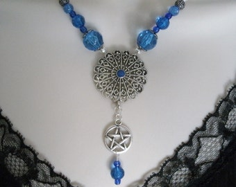 Blue Pentacle Necklace, wiccan jewelry pagan jewelry wicca jewelry witch jewelry goddess witchcraft pentagram metaphysical pagan necklace