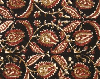Cotton Fabric Print - Red and Ochre Floral Pattern on Black Kalamkari Print 1 Yard - ctjp184