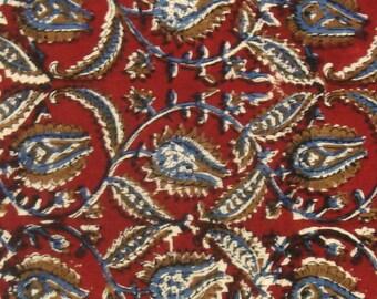 Cotton Fabric Print - Blue and Ochre Floral Pattern on Red Kalamkari Print 1 Yard - ctjp189