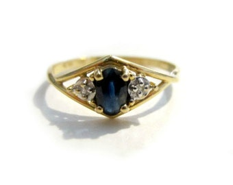 Vintage 14K Plumb Gold Sapphire Ring Genuine Sapphires September Birthstone Yellow Gold Ring Size 4 3/4 Band Gift for Her