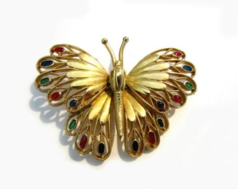 Gold Enamel Butterfly Brooch Signed Vintage Red Blue Green Large Butterfly Pin