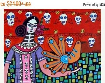 55% Off- Day of the Dead Print - Sugar Skulls Mexican Folk Art Poster Frida Kahlo (HG364)