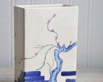 Vintage Hand Painted Square Asian Vase with Cherry Tree in Blue, Cherokee China Co, Square Vase,  Asian Home Decor,  1940s China, Made USA