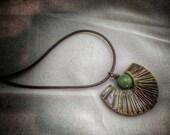 Athena Ceramic Pendant on Leather Necklace