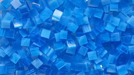 """100 1/2"""" Sky Blue and White Stained Glass Mosaic Tiles"""