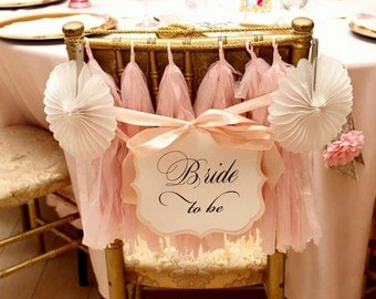 Bride to Be Chair Sign Bridal Shower Decoration Prepared in all of my Card Stock Colors