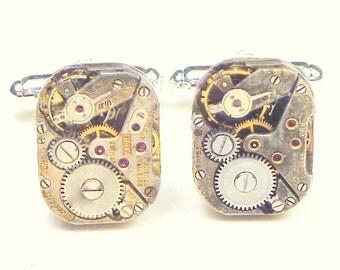 Steampunk Cufflinks, Men's Jewellry, Goth Fashion Gear, Formal Clock Work Jewelry, Ruby Jeweled, Steam Punk Diesel, Neo Victorian, Wedding