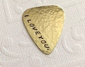 STAR Wars I Love You I know - Han Solo Princess Leia - Brass Guitar Pick - Handstamped - Useful Gift - Musician Gift - Empire STrikes Back