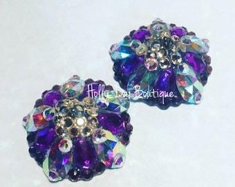 Purple Aurora Cream Rhinestone BURLESQUE couture pasties