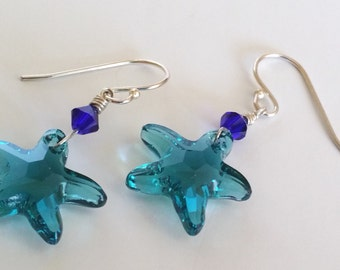 Indicolite Tourmaline Blue Swarovski Crystal Starfish Drop Earrings
