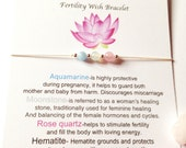 Fertility bracelet  IVF Fertility Gemstone healing bracelet Pregnancy Dainty bracelet Adjustable silver bracelet Hormone balance