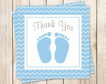 PRINTABLE . baby boy favor tags . blue baby feet tags . baby shower . thank you tags . INSTANT DOWNLOAD
