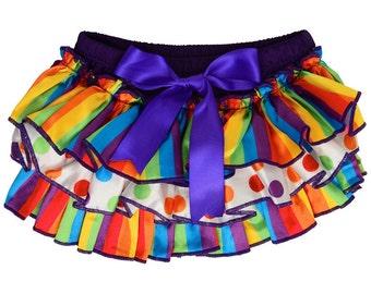 Ruffled diaper cover, cake smash girl, birthday girl outfit, rainbow birthday