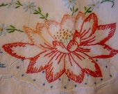 Stunning Vintage Set of Cotton Pillowcases Hand Embroidered Crocheted Edging Vintage Bedding