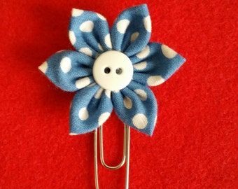 Blue With Large Dots Fabric Flower Bookmark / Felt Paper Clip