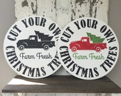 Vintage Christmas Trees for sale old truck Painted Round Wooden Sign