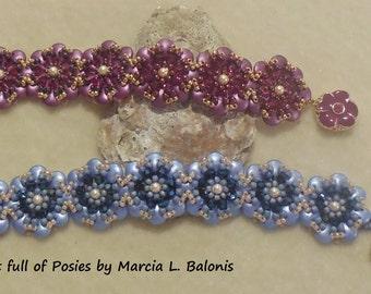 PATTERN Pocket full of Posies Flower Bracelet 2 hole CzechMate 2 hole lentil beads