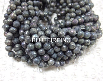 48 pcs beads 8mm AB finished Black Labarodrite Round Faceted Beads