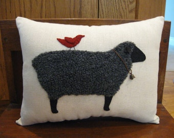 Primitive Wooly Black Sheep Pillow