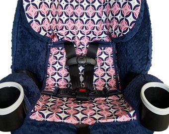 Graco 4ever All In One Carseat Cover, 4-1 Carseat - Navy & Pink Medallions with Navy Minky