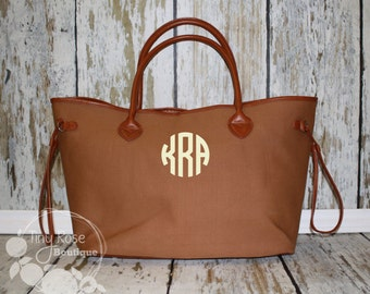 Brown Canvas Tote -Personalized Tote - Large Shopper- Monogrammed Purse