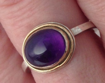 Amethyst Ring, Sterling Silver, 14K Gold