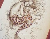 RESERVED MK The Death of the Little Mermaid - Watercolor embellished limited Giclee Print + PURPLE scales