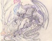 Rotten Unicorn vs Rotten Dragon Graphite Illustration