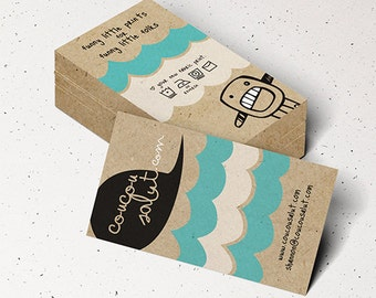 "100 Business Cards or tags 3.5""X2"" - printed on 32 PT THICK Kraft board/paper - with white ink - single Sided eco-friendly"