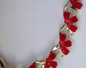 Cheery cranberry heart shaped signed Coro thermoset moonglow lucite 1960s vintage goldtone necklace