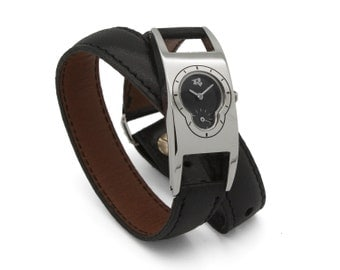 Art deco watch - black leather wrap watch  - the Deco