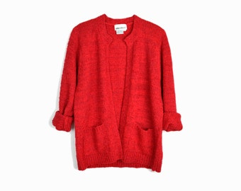 Vintage Red Boucle Sweater / Boucle Cardigan Sweater / Red Holiday Sweater - women's medium