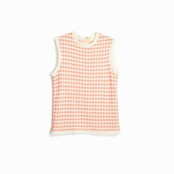 Vintage 60s Diamond Knit Top in Peaches and Cream / Sleeveless Tank Top / 1960s Fashion - women's xs/small